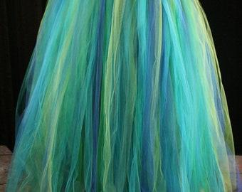Mermaid tulle tutu skirt floor length streamer formal bridal halloween costume prom fairy fantasy fairytale wedding -All Sizes- SOTMD
