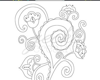 Embroidery Pattern: Whirly Flowers PDF
