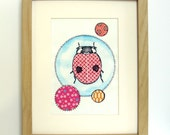 Colorful Ladybug Print - Matted for 8 x 10 Frame