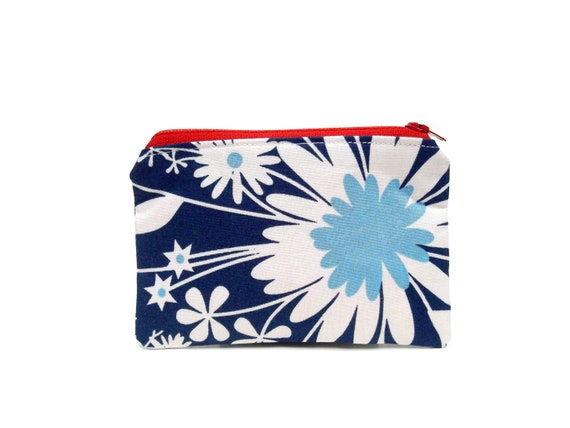 Mini Zipper Pouch / Pretty Floral Make Up Bag in Red White and Blue