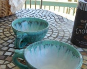 Registry Chloe and Tim Cappuccino Cups In Turquoise- Made to Order