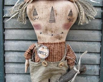Bo Scarecrow EPATTERN - primitive halloween fall thanksgiving cloth doll craft digital download sewing pattern -PDF - 1.99