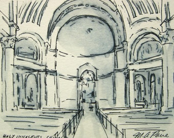 Architectural Drawing - Chicago Church -  by Michelle Arnold Paine