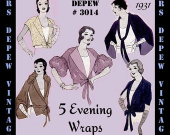 Vintage Sewing Pattern 1930s Evening Wraps in 5 Styles Digital Pattern E-book #3014 -INSTANT DOWNLOAD-