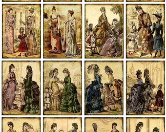 FRENCH FASHION - Digital Printable Collage Sheet - Victorian Women in Corsets Bustles & Gowns, Edwardian Ladies, Paris France Fashions