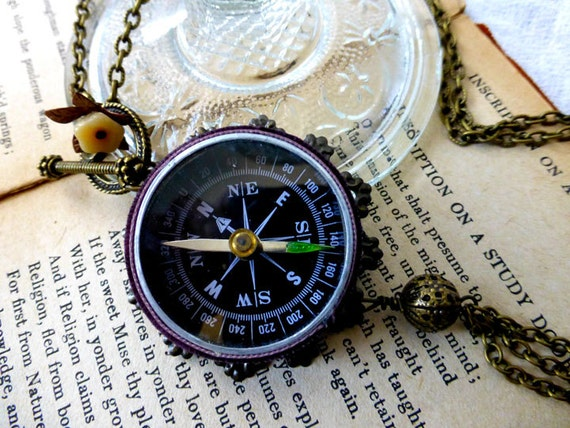 Steampunk Vintage Compass II Pendant Necklace