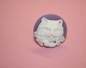 Medium Round Lavender Kitty Cameo Ring