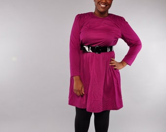 Vintage Fuchsia Dress // 80's Knit Dress // Shoulder Detail // XL