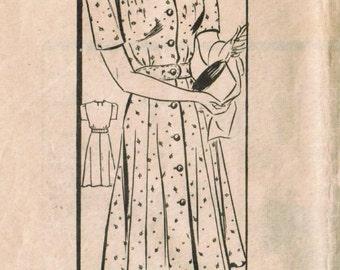 1940s Mail Order 3408 Vintage Sewing Pattern Misses Spectator Dress, Shirtwaist Dress Size 14 Bust 32