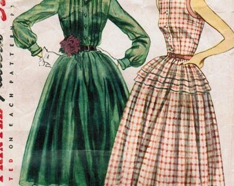 1950s Simplicity 3848 Vintage Sewing Pattern Misses Afternoon Dress, Shirtwaist Dress Size 12 Bust 30