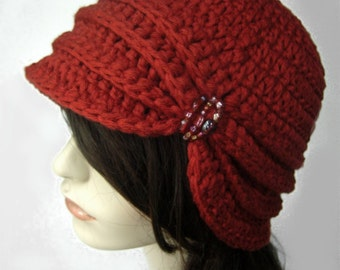 Vintage Inspired Cloche Hat with Glass Beading, Scarlet Red, Womens Hat Cotton Hat Flapper Hat Turban Hat Red Hat Vintage Hat, MADE TO ORDER