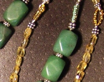 SHIPS FREE Demure & Chunky Mexican Inspired Necklace 925 box clasp w Faceted Aventurine Faceted Citrine Beads Bali Sterling Silver Details