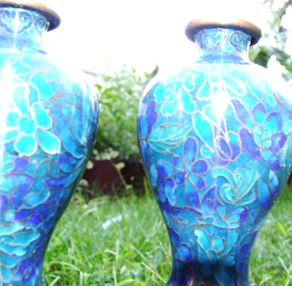 Vintage Pair of Blue On Blue Enamel Cloissonne Vases Jingfa Floral and Butterfly Chinese Vases w stands CA 1940s