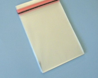 4 5/8 x 5 3/4 inch Cello Bags for A2 Card with Envelope, Crystal Clear, Lip and Tape, Resealable, Set of 50