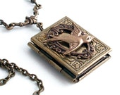 Flying Straight Home - Bronze Book Locket - Locket Necklace Jewelry