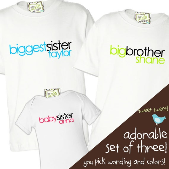 Matching Sibling shirts-biggest sister, big brother, baby sister shirt - adorable matching sibling set for any 3 brother sister combination