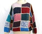 Vintage Irish Hand Knit Patchwork Wool Sweater