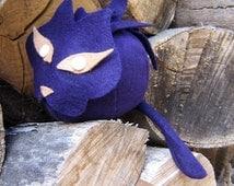 Purple Plush Cat - Ball Plush - Stuffed Animal