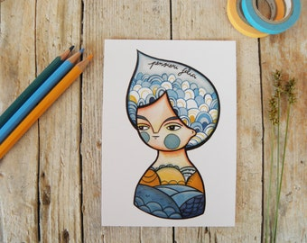 Summer postcard, blue sea illustration