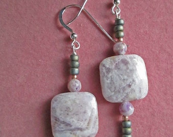 TENDER Earrings with Flower Sugilite, Czech Glass & Copper Beads On Sterling Silver Wires OOAK