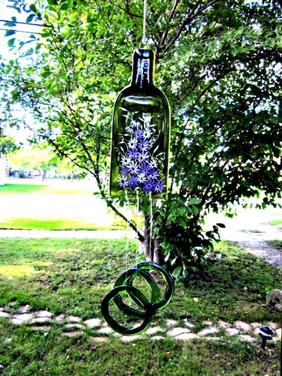 Wine Bottle Wind Chime Recycled Repurposed Deep Green Hand Painted Purple Flowers