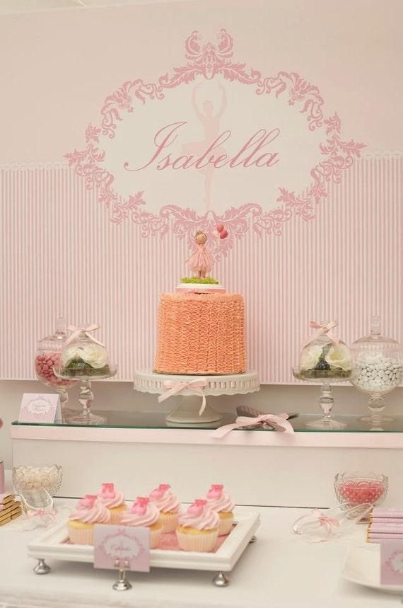 PINK DAMASK BALLERINA Printable Party Backdrop - you print