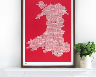 Wales Type Map - decorative screen print