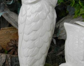 Tall Pottery Owl - Ceramic glazed Horned barn pottery  Hoot owl Vintage inspired