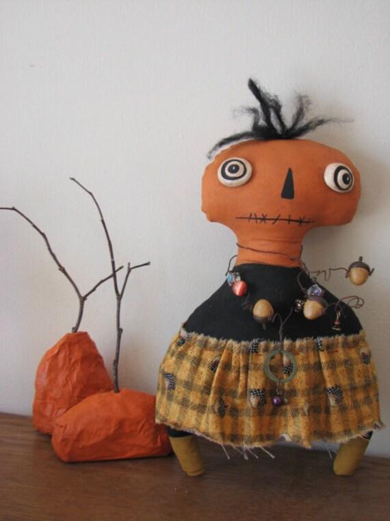 Primitive Folk Art Doll Acorn Pumpkin Head Creepy -- SALE 60% OFF