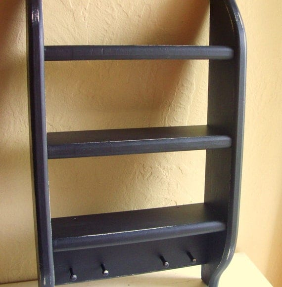 Distressed Black Wood Curio Shelf Wall Hanging Shelves With