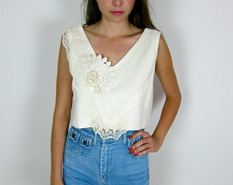 Pretty Cream Colored Lace 80's Crop Top