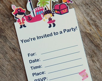 Pirate Girl Party - Set of 8 Pirate Girl Invitations The Birthday House