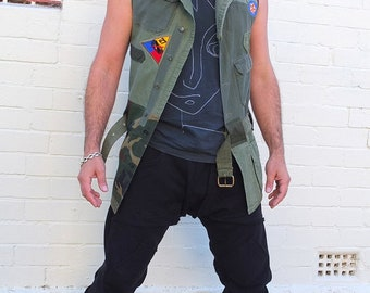 Men's Military Waistcoat Handmade from Military shirts. Military Vest waistcoat with vintage patches- Size Small