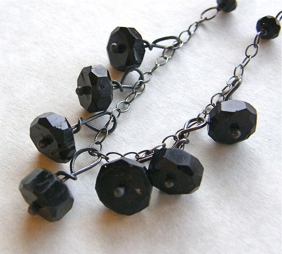 Black Tourmaline Lyrical Metalwork Necklace, Black and Silver Necklace, OOAK Statement Necklace