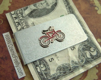 Men's Money Clip Red Bike Silver Plated Metal Vintage Inspired Victorian Steampunk Style