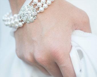 Pearl Bracelet, Vintage Bridal Bracelet, Pearl Cuff Bracelet, Crystal Rhinestone Wedding Bracelet, Triple Strand Pearl Bracelet  -- AVA