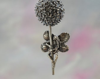 Sterling Silver Faerie Pendant, Alium Flower Faerie