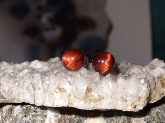 6mm Red Tiger Eye Stud Earrings Earings Titanium Posts and Clutches Hypo Allergenic Handmade in Newfoundland Grace