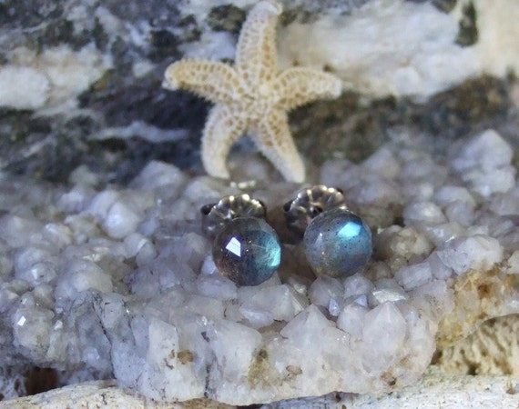 Rose Cuts 6mm Faceted Labradorite Stud Earrings Earings Titanium Post and Clutch Blue Flash Sparkly Magic Hypo Allergenic