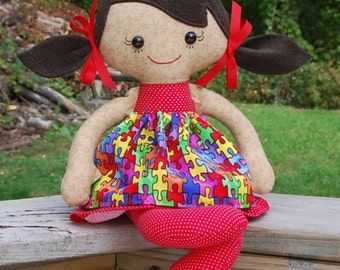CUSTOM Autism Awareness Calico Rag doll