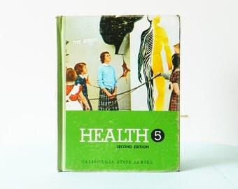 1960's Illustrated Health Book / Vintage Textbook / Mid Century Illustrated Book / Vintage Book Decor