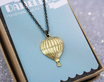 Hot Air Balloon Necklace Antique Gold / SAMPLE SALE
