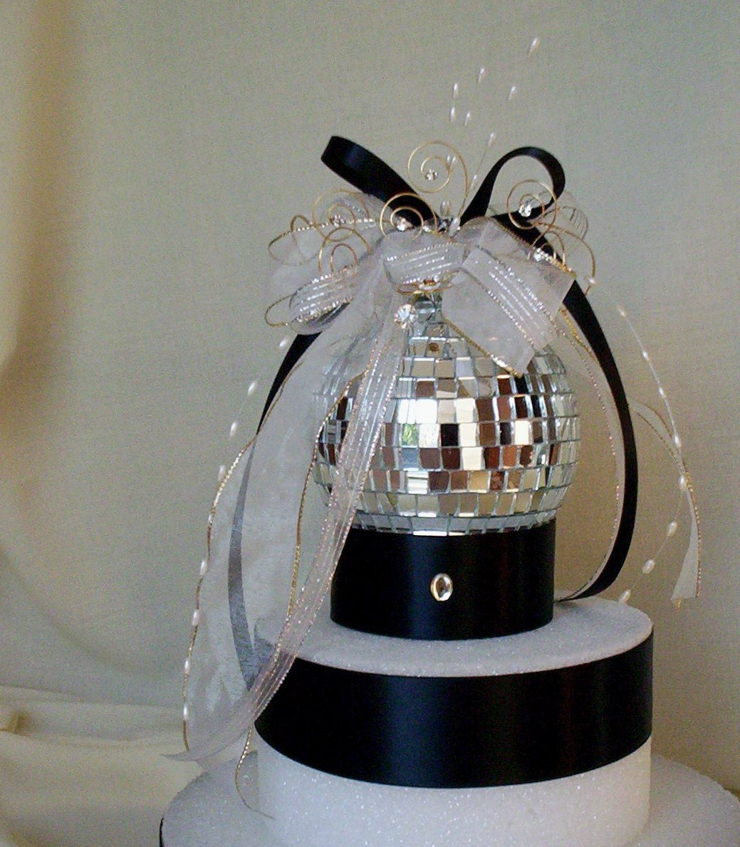 Wedding Cake Topper Mirror Ball Decoration silver Birthday