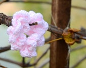 Pink Ruffle Hand Crocheted Hair Tie