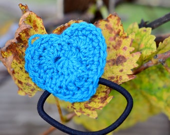 Turquoise Crocheted Heart Hair Tie