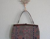 CLEARANCE Vintage 1950s Handbag - Pretty Blue Floral Fabric Purse - 50s Venetian Holiday Bag