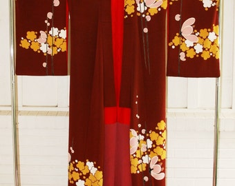Vintage Kimono - Burgundy Kimono - Silk Screened Blossom Pattern - Artistic - Unique - Wearable Art - Culture Cultured - Asian