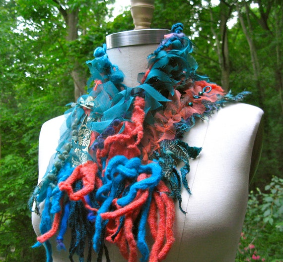 Tattered shaggy turquoise orange NECK WARMER/ Scarf/ Wrap with pom poms and beads