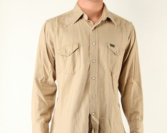 Vintage Wrangler Western Shirt Large 60s 70s White Pearl Button Buckskin Tan Country