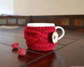 Valentine Coffee Mug Cozy, Tea Cosy, Coffee Sleeve, Coffee Cup Cozy, Tea Cozy, Cup Warmer, Knit Coffee Cozy, Gifts For Mom, Gifts Under 20